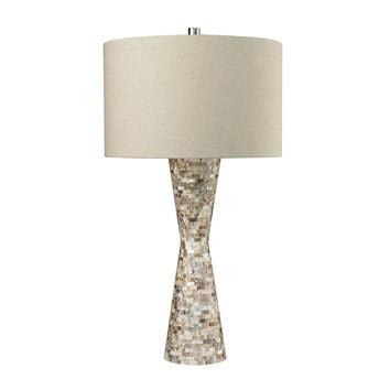 Mother Of Pearl Waisted Table Lamp with Sand Linen Shade