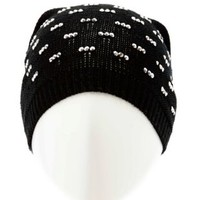 Rhinestone Embellished Open Knit Beanie by Charlotte Russe