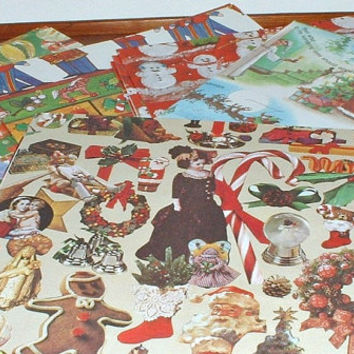 Christmas Gift Wrapping Paper 14 Sheets Gift Paper Vintage