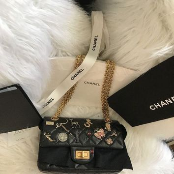 NWT Auth CHANEL '17P Limited Edition LUCKY CHARMS Blck Leather Flap Reissue Bag