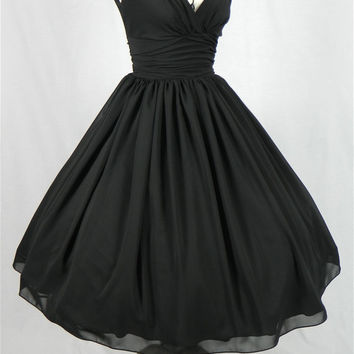 An elegant 50s style cocktail dress. Classic design in black chiffon. Can be customized like many others in our shop. Any size welcome.
