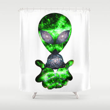 Alien Overlord Shower Curtain by Nate4D7 | Society6