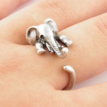 Vintage Retro Cute Elephant Ring +Gift Box