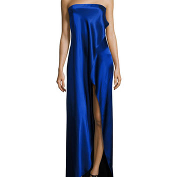 Diane von Furstenberg Strapless Draped Satin Side-Slit Gown, Blue