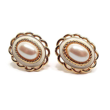 Monet Vintage Faux Pearl Clip on Earrings Gold Tone Golden Off White and Cream Oval Retro Womens Jewelry 1980s 80s