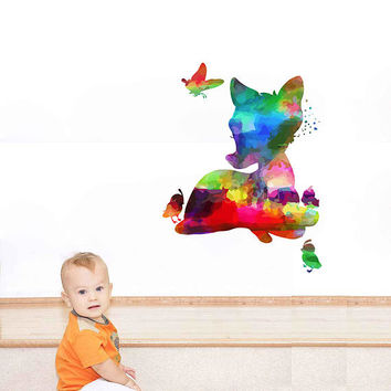 kcik2103 Full Color Wall decal Watercolor Bambi Character Disney Sticker Disney children's room Fawn