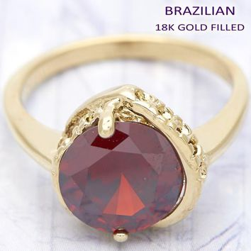 Gold Layered Women Heart Multi Stone Ring, with Garnet Cubic Zirconia, by Folks Jewelry
