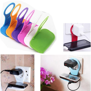 Convenient Mobile Foldable Designed Cell Phone Holder Wall Charger Hanger Charging Rack Shelf Send in random color = 1705484804