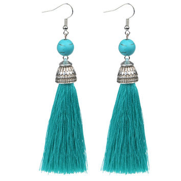 Vintage Fringe Long Tassel Earrings Luxury White howlite Dangle Drop Natural Stone Earrings For Women Bohemian Earrings Boho