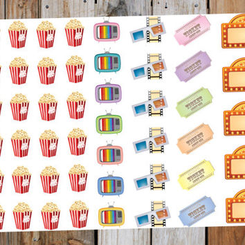 Movie Night stickers - Popcorn and Movies Planner Stickers - Erin Condren, LimeLife, Inkwell, Plum Paper, Filofax