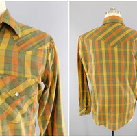 1980s Vintage / Brown Plaid Western Shirt / Pearl Snap Buttons / Casual Wear / Long Sleeve / Button Front / Mustang / Size XL / 44 - 46