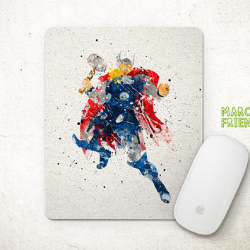Thor Watercolor Art, Avergers Mousepad, Mouse Pad, Office Deco, Holiday Gift, Art Print, Kid's Room, Desk Decor, Superhero Accessories