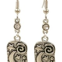 Surgical Steel Dangle Earrings Moon and Stars Silver Tone