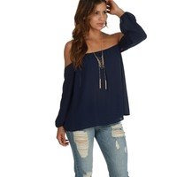Navy Off-the-shoulder Gaze Top