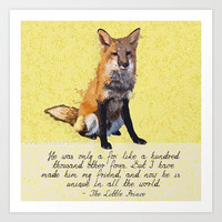 Fox The Little Prince Woodland Square 13x13 Pop Art Print Wall Home Decor Quote Yellow Orange Wildlife Children Nursery Neutral Kid Book