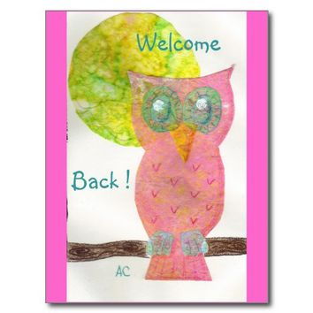 Welcome back ! 4 postcards from Zazzle.com