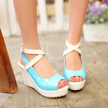 Cross Strap Platform Wedges Sandals Women Pumps Peep Toe Shoes Woman