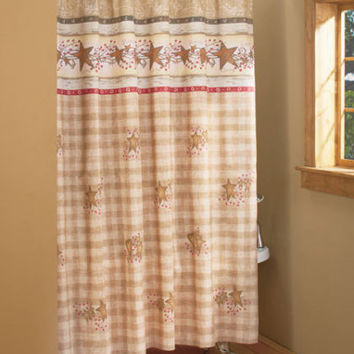 Country Hearts & Stars Shower Curtain Bathroom See Store For Coordinating Pieces