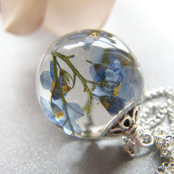 Real Forget me Not Resin Orb Necklace, Resin Orb, Resin Sphere, Pressed Flower Necklace, Eco Friendly
