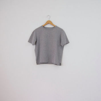 90s Boxy Grey Tee - 90s minimalist boxy tee boxy shirt boxy top cotton t shirt plain tee plain t shirt cropped tee 90s clothing grey t shirt