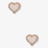 Heart-Shaped Rhinestoned Studs | FOREVER 21 - 1044616347