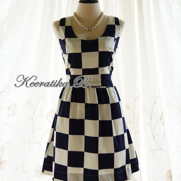 Jazzie lll - Spring Summer Sundress Checkered Print White And Navy Party Tea Bridesmaid Dress
