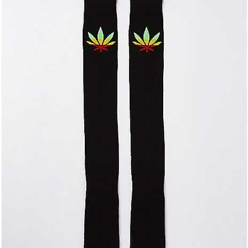 Black Rasta Leaf Over the Knee Socks - Spencer's