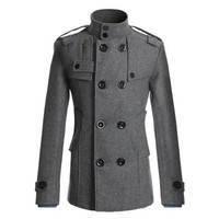 Button Designed Turtleneck Long Sleeve Trench Coat