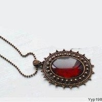 Red resin bronze Vintage retro style Long necklace jewelry pendant