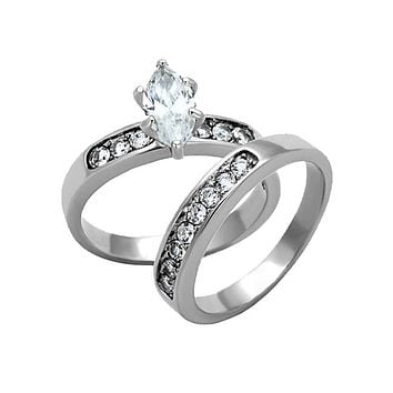 The Marchesa - White Marquise Cut Solitaire with Cubic Zirconia Studded Band  Wedding Ring Set in d7ff36fa1
