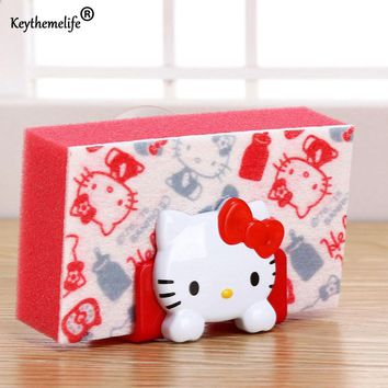 Keythemelife Cartoon Hello Kitty/Melody Soap Sponge Suction Drying Holder Home Kitchen Bathroom Storage Rack 3D