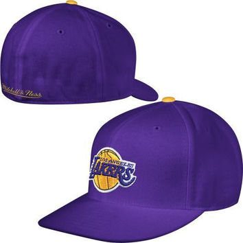 Mitchell & Ness Los Angeles Lakers Purple Vintage Logo Fitted Hat