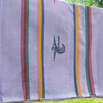 "Lilac tablecloth with colorful embroidered birds lines arrows - Rectangular tablecloth - About 79"" x 54"""