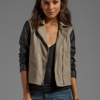 Jack by BB Dakota Kat Colorblock PU Jacket in Black/Tan from REVOLVEclothing.com