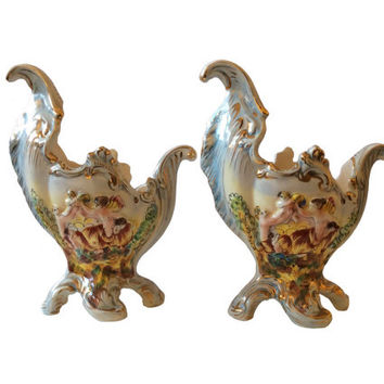 Italian Capodimonte Porcelain Rococo Revival Cherub Gilded Footed Mantle Vases Planters
