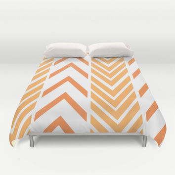 Orange Arrows - Bed Spread - Duvet Cover -  Orange and White Striped - Bed Cover -  Duvet Cover Only - Bedding - Made to Order