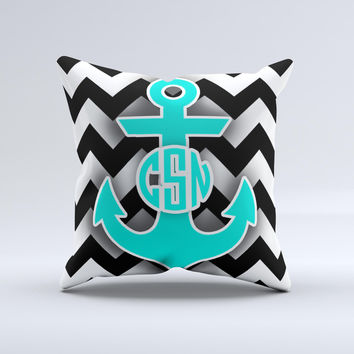 Teal Green Monogram Anchor on Black & White Chevron  Ink-Fuzed Decorative Throw Pillow