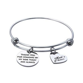 AUGUAU Jewelady Maid Of Honor Bracelet Stainless Steel Expandable Bangle with Heart Charm Wedding Gift for Bridesmaid