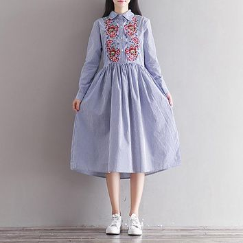 Spring Dress Striped Print Cotton Linen Shirt Dress Casual Long Sleeve Embroidery Vintage Dress Plus Size Women Clothing
