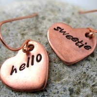 Hello Sweetie Copper Heart Earrings - Hand Stamped, Doctor Who Inspired