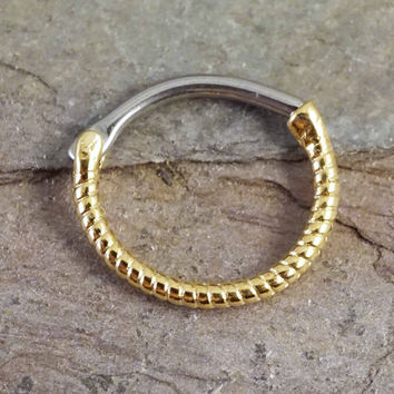 Daith Piercing Rook Earring Clicker Gold