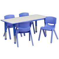 Flash Furniture 23.625''W x 47.25''L Adjustable Rectangular Blue Plastic Activity Table Set with 4 School Stack Chairs [YU-YCY-060-0034-RECT-TBL-BLUE-GG]