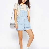 ASOS | ASOS Denim Short Overall In Bleach Wash at ASOS