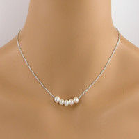 Five Pearl Sterling Silver Necklace, Floating Pearl Necklace