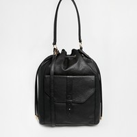 ASOS Drawstring Bucket Bag with Front Pocket at asos.com