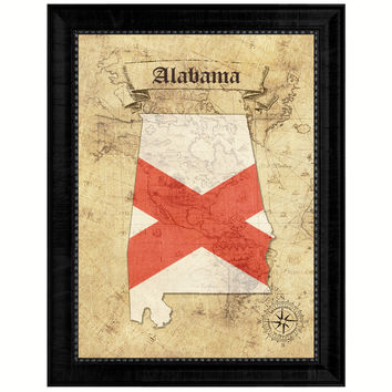 Alabama State Vintage Map Gifts Home Decor Wall Art Office Decoration