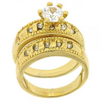 Gold Layered Wedding Ring, Duo Design, with Cubic Zirconia and Crystal, Gold Tone