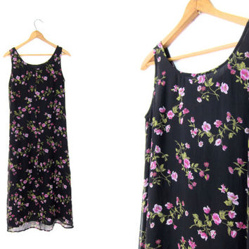 Black 90s SILK Floral Dress Long Midi Dress Pink Flower Print SunDress BOHO Vintage 1990s Preppy Grunge Revival Slip Dress XS Small