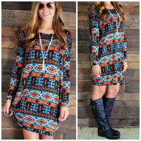 Fashion Tribe Blue Aztec Shift Dress