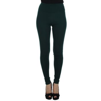 Dolce & Gabbana Green Cashmere Stretch Tights Pants